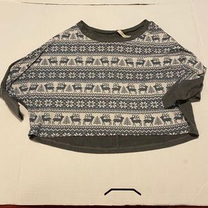 Paper Crane, winter themed cropped sweater